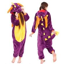 Кигуруми, зимняя Пижама с динозавром для взрослых, для женщин и мужчин, пижама с животными, косплей, комбинезон унисекс, для взрослых, фланелевая ночная рубашка, комплекты домашней одежды