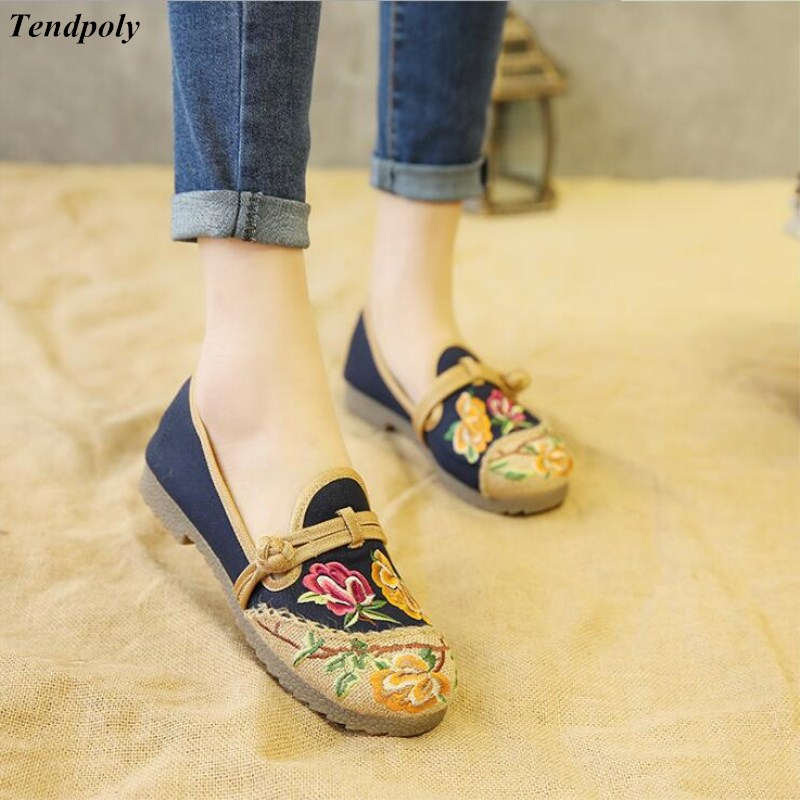 2018 The new size (35-40) old Beijing shoes shoes womens shoes retro comfort mother folk style casual cotton embroidered shoes