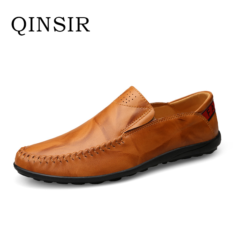 Mens Slip On Casual Shoes Spring Autumn Male Men Loafers Breathable Soft Top Layer Genuine Leather Driving Flats Hot Sale Doug big size 39 48 men flats summer genuine leather loafers breathable driving shoes moccasines slip on male casual shoes xk032808