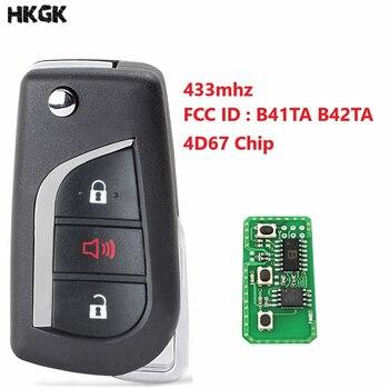 3 boutons télécommande voiture porte-clés pour Toyota Camry Corolla Hilux 3 boutons 4D67 433.92 mhz FCC ID: B41TA B42TA