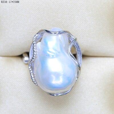 Anneau de perles baroques d'eau douce en argent pur d'eau douce naturelle anneaux de perles réglables baroques faits à la main réglables