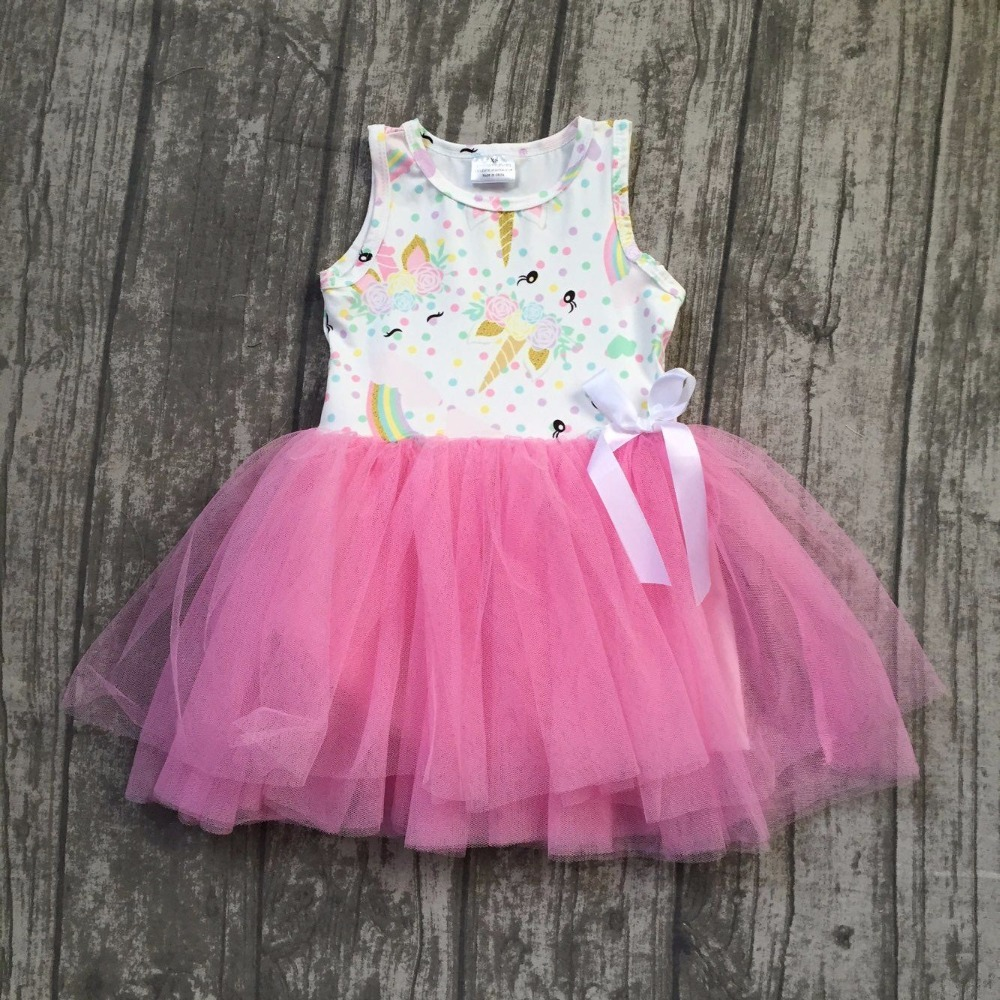 new arrivals summer baby girls kids boutique clothes pink unicorn bow lace sleeveless bow cotton princess dress ball gown cotton new summer cotton baby girls kids boutique clothes dress mint pink stripe rabbit print ruffles with matching accessories