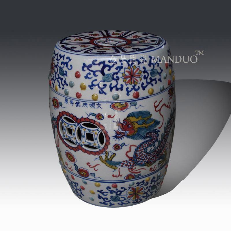 Chinese antique ming dynasty wucai colour hand ceramic garden stools seats
