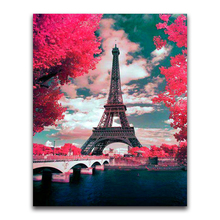 square Diamond painting Cross stitch Eiffell Tower scenery mosaic France Paris 5D  embroidery blossoms