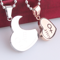 Men And Women Symbols Love Heart Couple 316L Stainless Steel Pendant Necklaces Bead Chain For Men