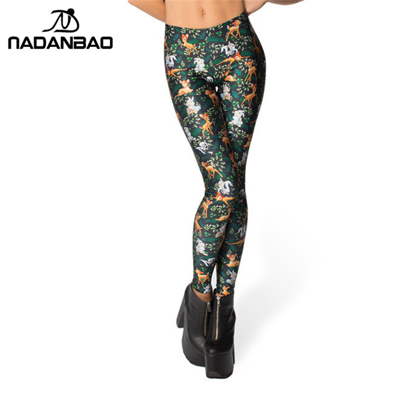 NADANBAO Black Milk High waist Deer Bambi Animal Print   Leggings   For Women Skinny Long leggins WomanPant