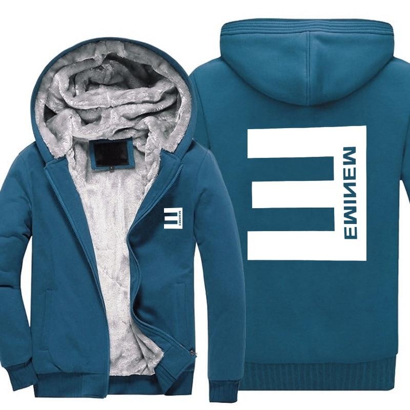 Fashion e hoodie New Winter Mens Thick Hoodies Eminem Hip Hop Punk Rock Rap Rock Hip Hop Tracksuit Thick Velvet Sweatshirt
