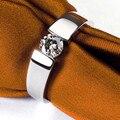 La promesa de la Joyería Del Oro Sólido Anillo Solitario Hombre 0.6CT Diamante Masculino Memorial Day Marido 14 K Oro Blanco de Los Hombres de la Joyería