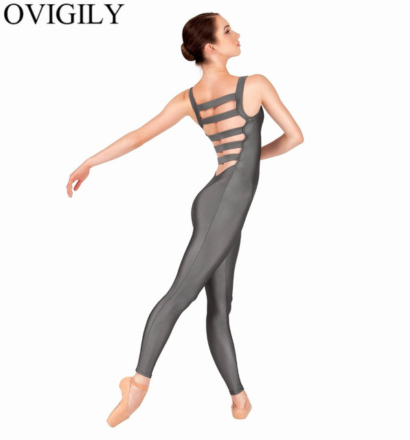 dfc01924d OVIGILY Womens Tank Unitards Elastic Ladder Back Adult Lycra Spandex  Sleeveless Full Length Dance Unitard Teams Performance Show