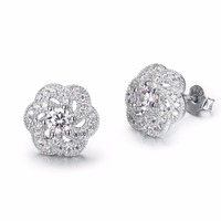 PYE0060 100 Real Pure 925 Sterling Silver Cubic Zirconia Crystal Stud Earrings Flower Shape Brincos Aretes