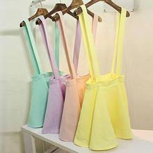 Girl Pleated Mini Skirt Women Pastel Skater Flared Belt Waist Suspender Skirt H34