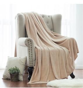 Image 5 - Couverture jeté blanche en tissu microfibre, en flanelle, pour lit, pour voyage, couverture polaire chaude, corail
