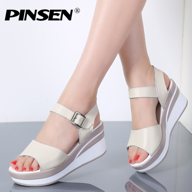 09b2ae905d PINSEN 2018 Women Sandals White Flat Sandals Wedges Heel Summer Women Open  Toe Platform Sandalias Ladies