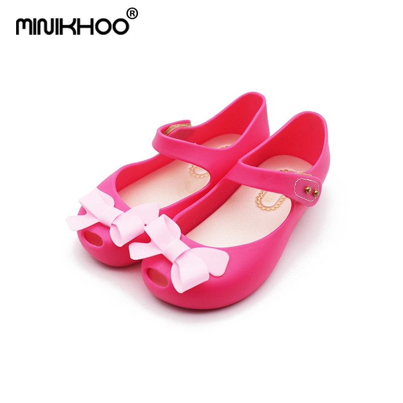 Mini Melissa 2018 Bows Girls Jelly Sandals Girls Sandals Melissa Sapato Infantil Menina 13-15.5cm Children Mini Melissa Shoes