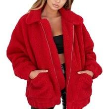 Модные толстовка с отворотом флис мех животных пальто 2018 осенне зимняя Дамская обувь теплая мягкая куртка толстый плюш на молнии короткая верхняя