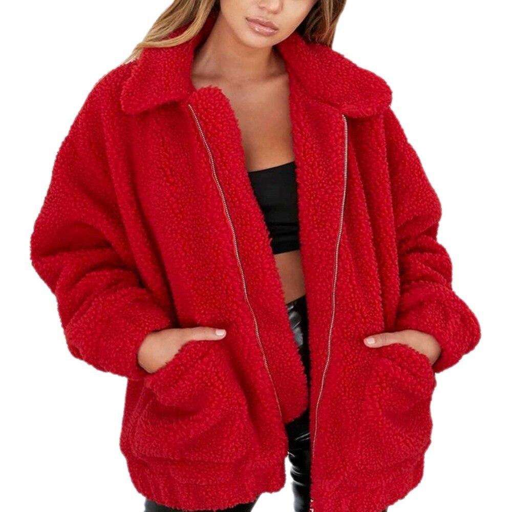 Moda solapa sudadera de lana abrigo de piel 2018 mujeres otoño invierno cálido suave Chaqueta de felpa gruesa cremallera abrigo corto prendas de vestir exteriores