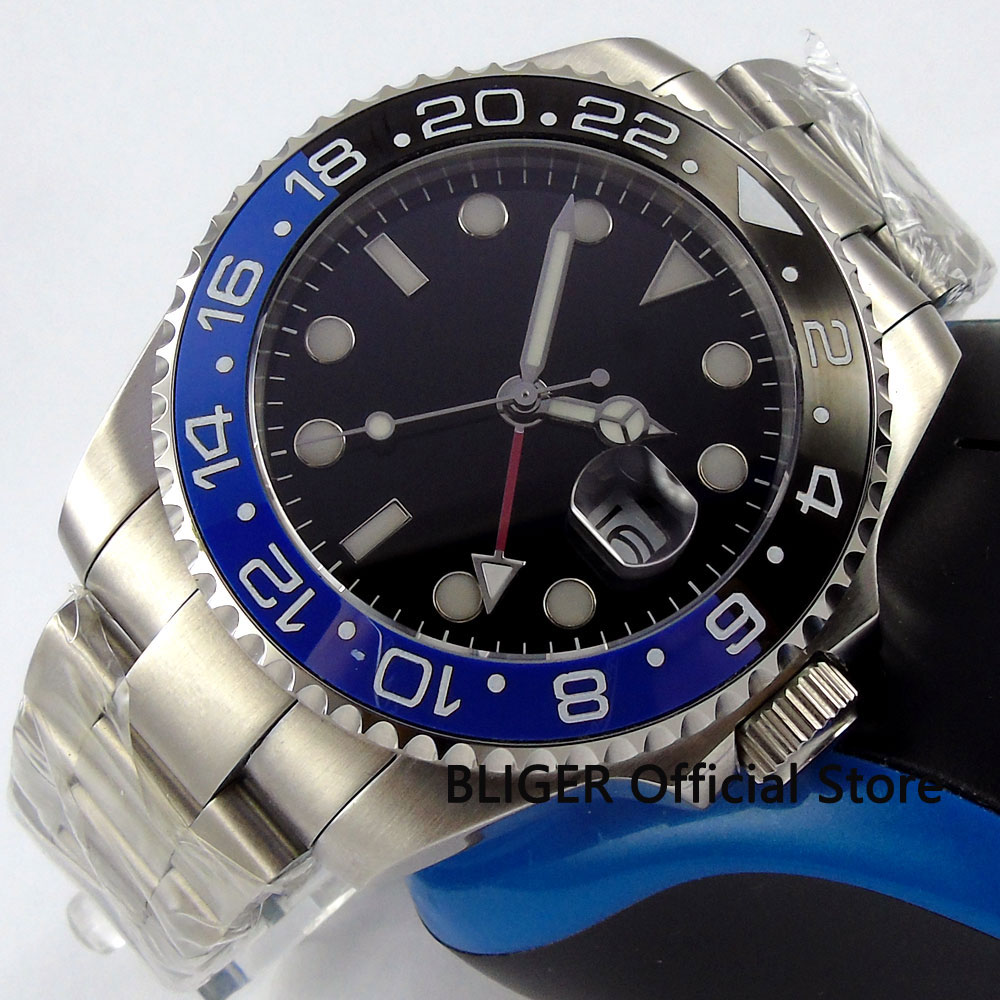 Sapphire Crystal BLIGER 43MM Black Sterile Dial GMT Function Blue Black Ceramic Bezel Automatic Movement Men's Watch Luminous