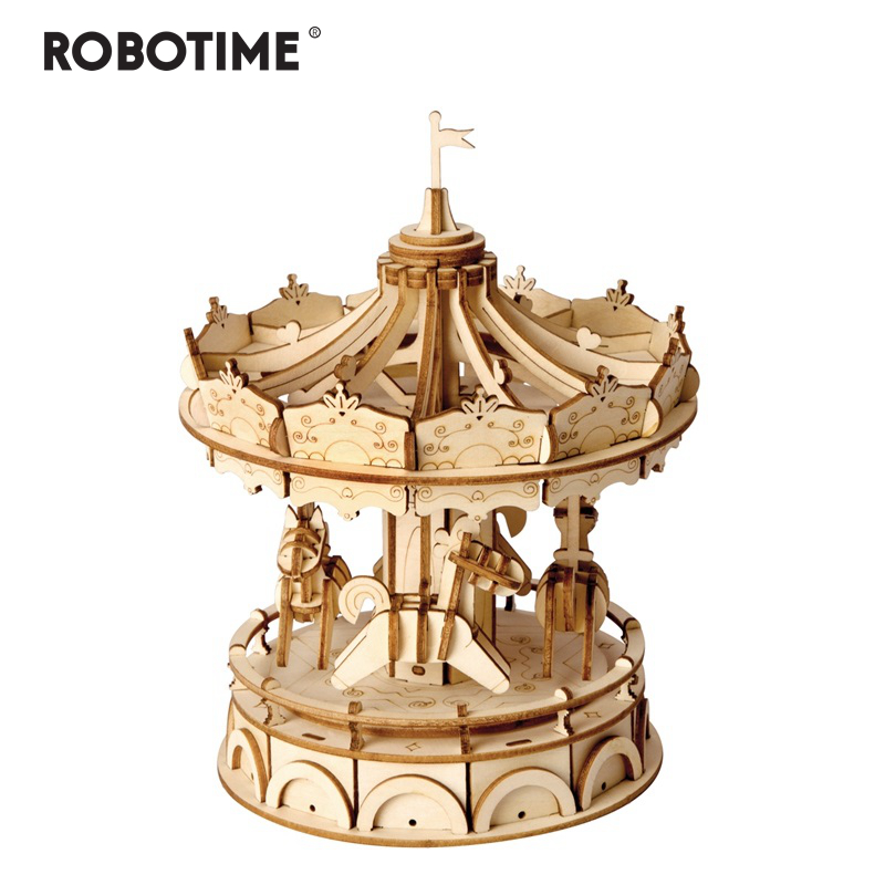 Robotime DIY 3D Wooden Merry-Go-Round Puzzle Game Gift For Children Kid Friend Nice Decor Popular Toy TG404