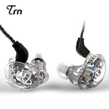 TRN V10 2DD + 2BA IEM Híbrido No Ouvido Fone de Ouvido de ALTA FIDELIDADE DJ Fone de Ouvido Esportivo Com 2-PIN Cabo Destacável