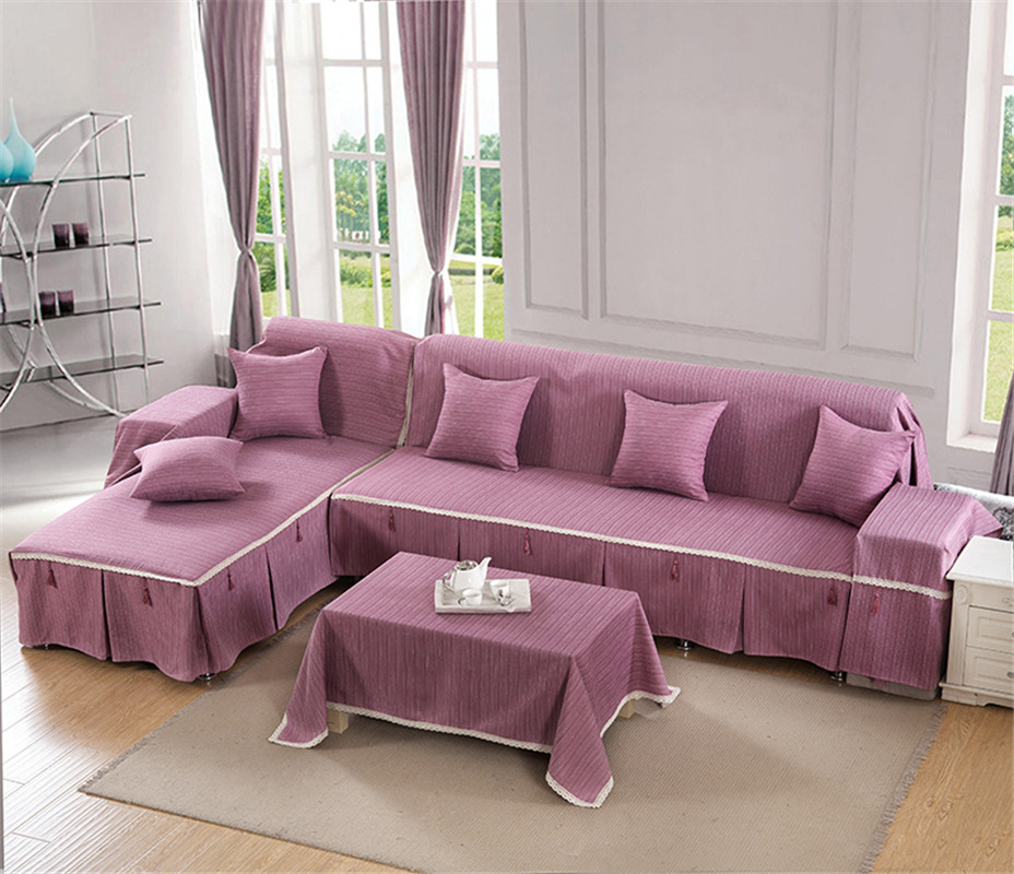 Korean Style Solid Purple Printing Good Quality Sofa Cover Cotton Polyester One Two Three Four 1