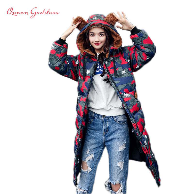 keep warm autumn and winter jacket women add filler to hooded coat print clothes plus size high quality female cotton parkas 10piece 100% new tps51601drbr tps51601 1601 qfn chipset