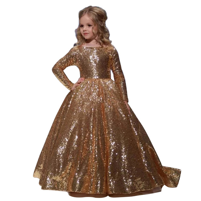 Gold Kids Evening Ball Gowns Long Sleeves Toddler   Girls   Birthday Party   Dress   Robe De Soiree Fille Sequin   Flower     Girl     Dresses