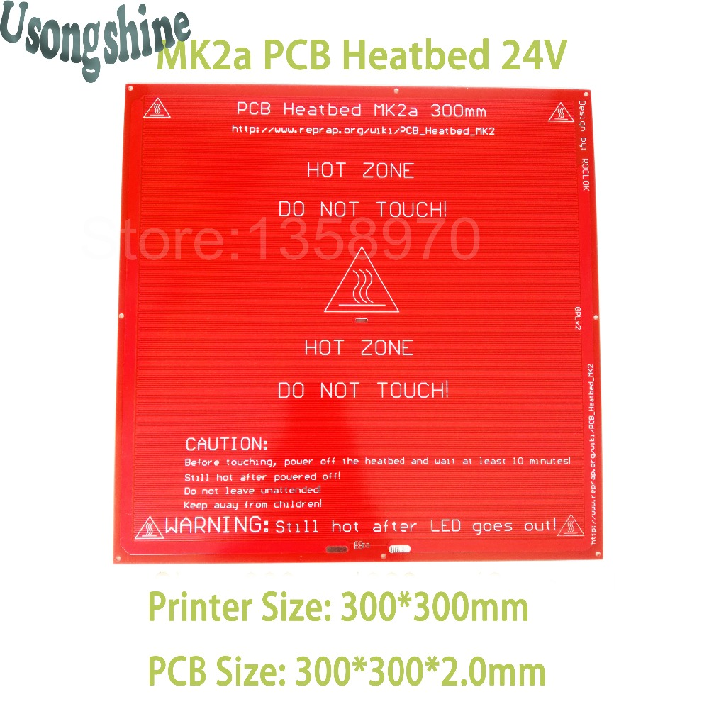 все цены на 1pcs PCB Heatbed MK2A 24V hot bed Mk2a 300*300mm (2mm) for 3D printer heating no wire insulation board on the Linear Guides онлайн