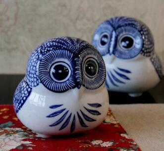 Bule And White Ceramic Owl Figurines Home Decor Ornament Crafts Room Decoration Porcelain Figurine