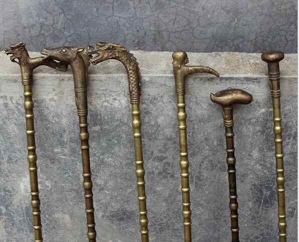 Nghệ Thuật trang trí thủ công mỹ nghệ 90 cm Vòng đầu tinh khiết đồng brass rồng đầu hàng đầu tuổi thọ zhijuchangle Bằng Đồng Thủ Công Mía người đàn ông món quà