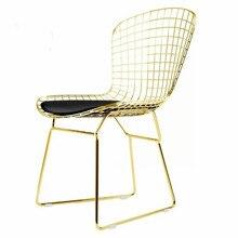 Нордический золотой железный стул в дырочку стул для столовой офиса домашнего кофе с 100/50*50 см шерстяная подушка
