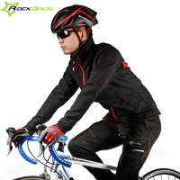 ROCKBROS Cycling Jersey Spring Fall Winter Cycling Coat Fleece Long Sleeve Windproof Rainproof MTB Downhill Bike