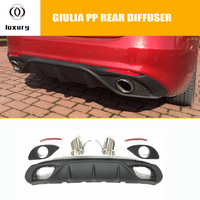 Giulia Change to 2 Outlet PP Rear Bumper Diffuser with Exhaust Tips for Alfa Romeo Giulia 2016 2017 2018