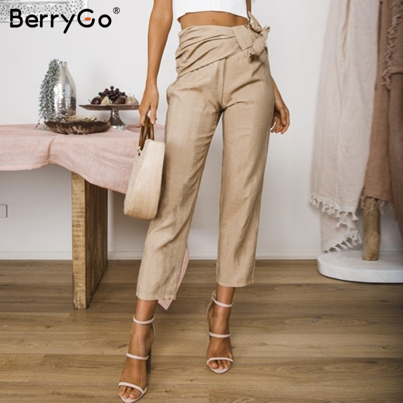 BerryGo Casual bow khaki women long trousers Summer elastic sash skinny   pants   Office ladies solid fashion spring   capris     pants