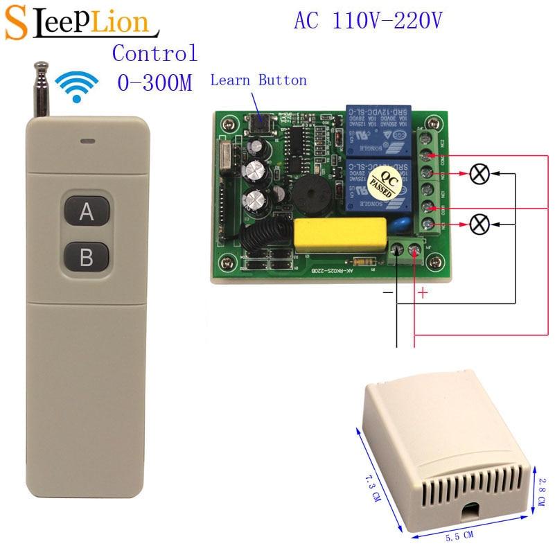 Sleeplion 220V 2 CH  Wireless Switch Motor Light Garage Door Open 2CH 1/2/3 RF Remote Control Switch Universal Module 110V