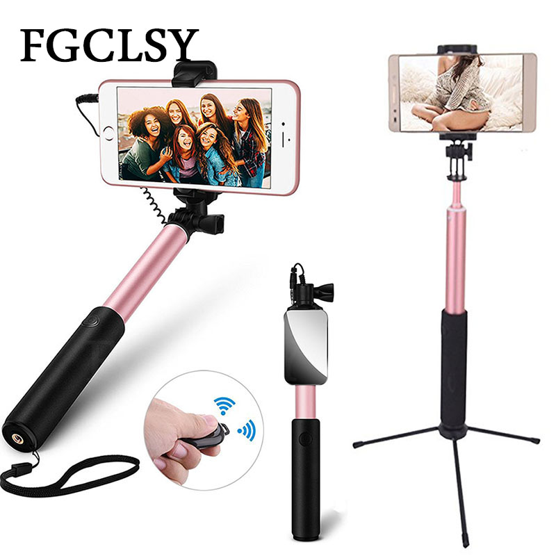 FGCLSY Mini Wired Selfie Stick For iPhone 8 X 7 6S Plus Universal Bluetooth Tripod Monopod Wireless Selfie Stick With mirror led flash fill light selfie stick lighting bluetooth monopod with rear mirror for iphone 7 6 6s plus 5 5s se 4 4s android phones