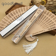 Gratis Verzending Groothandel 100 stks/partij Gepersonaliseerde 20 cm Vintage Chinese Houten Gesneden Pocket Folding Ventilator Huwelijk Bruiloft Fan
