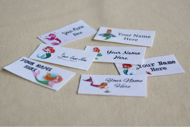 42 Mermaid Fabric Name Label Cotton Labels Printed Clothing Tag For S