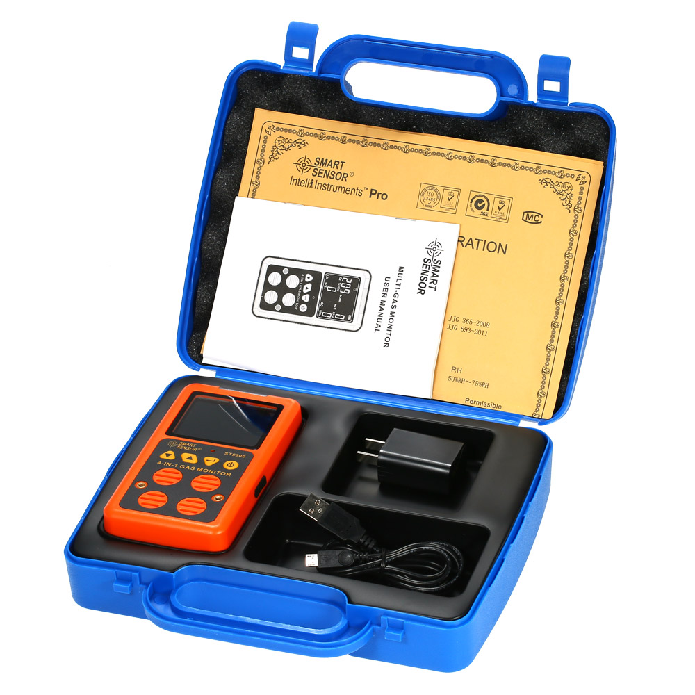 4 in 1 US Digital Gas Detector O2 H2S CO LEL Monitor Gas Analyzer air quality Monitor Gas Tester Carbon Monoxide Meter