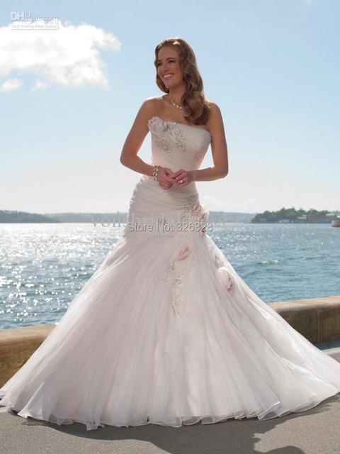 daf773218c3 Cheap Vintage Castle Mermaid Flowers Embellished Wedding Dresses Lace up  pleat Ivory Organza Chapel Bridal Gowns Designer Dress