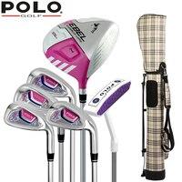 Бренд поло 6 частей женские Обувь для девочек половина Клюшки для гольфа набор с мешком для компактной начинающих Клюшки для гольфа фирменн