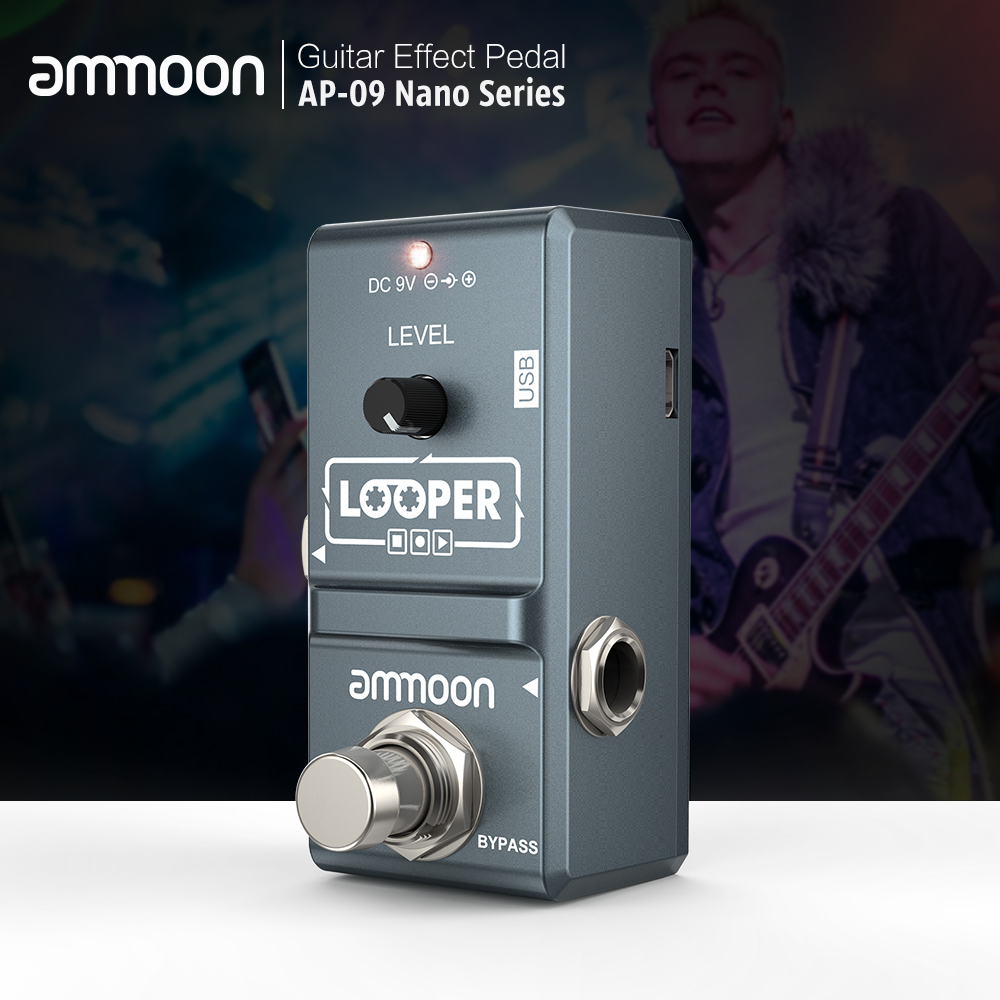 Ammoon AP-09  Loop Guitar Pedal Electric Guitar Effect Pedal Looper Unlimited Overdubs 10 Minutes Recording With USB Cable