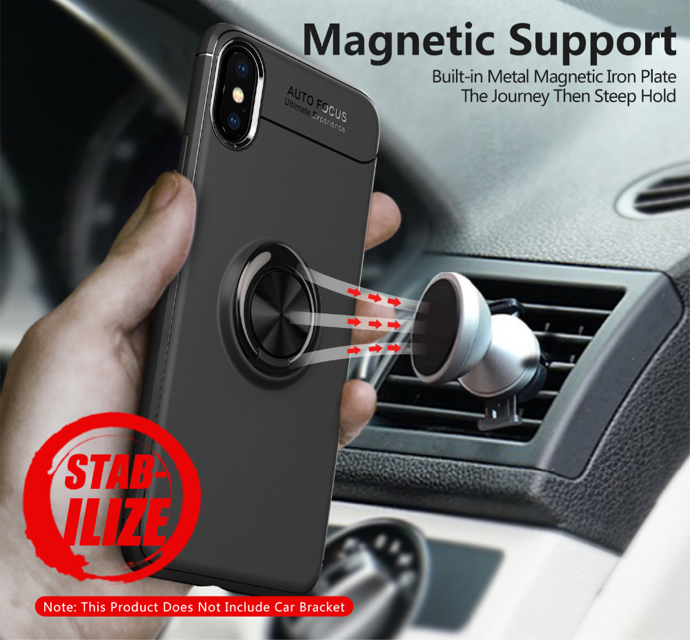 For iPhone X Case Ultra Thin Car Magnetic Holder Cover For iphone 5 7 6 6S 8 Plus X Case Soft Silicone Finger Ring Coque Fundas