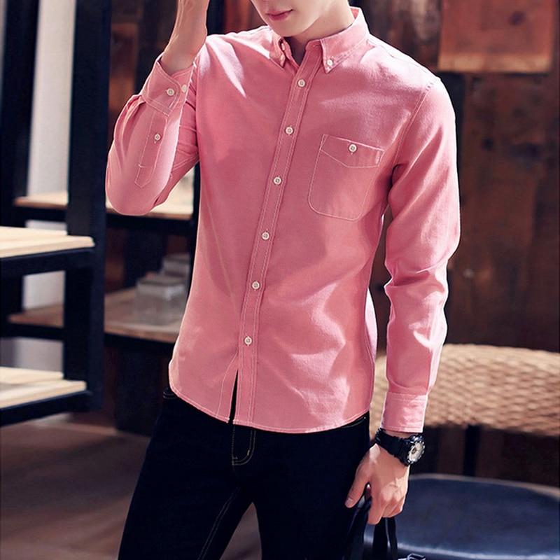 2018 Casual Men Shirt Long Sleeve 100 Cotton Pink Blue