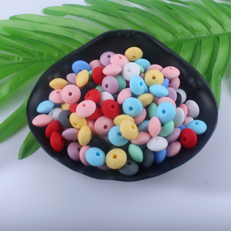 100Pcs Silicone Teether 12mm Silicone Beads DIY Bead Teething Nursing Necklace Food Grade Silicone Abacus Beads