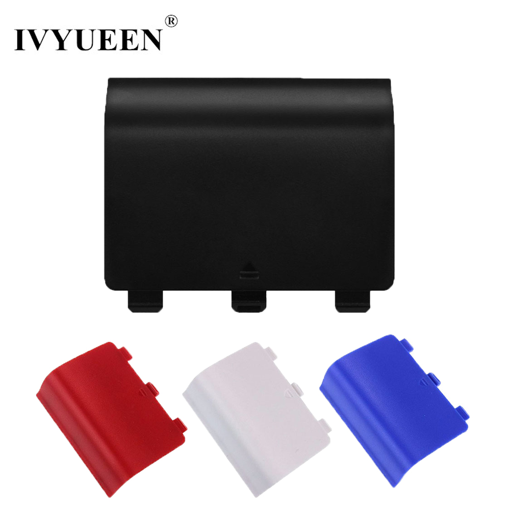 IVYUEEN 2 PCS Plastic Replacement Battery Back Cover Lid Door Shell For Xbox One Controller Plate - Black / Blue / Red / White
