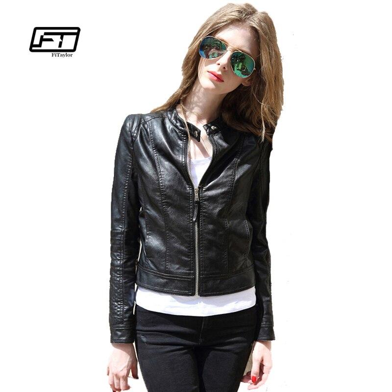 Fitaylor New 2019 Jaro Podzim Ženy Ženy Kožená bunda O O krku Krátký design Punk Outwear Casual Biker Jacket