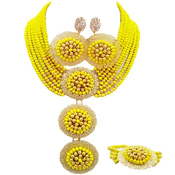 Opaque Yellow African Beads Jewelry Set Crystal Nigerian Wedding Necklace Bracelet Earrings 8C-3PH08