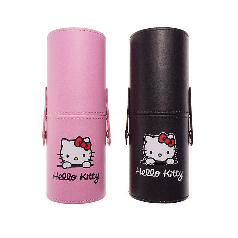 12pcs/set hello Kitty makeup brushes cylinder leather Barrel package make up brush powder blush foundation eyeshadow lip Eyelash rancai 12pcs makeup brushes set powder foundation blusher lip eyeliner eyelash eyeshadow eyebrow brush