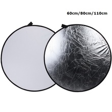 SUPON Portable 60CM 80CM 110CM Silver/White 2 in 1 Collapsible Light Round Photography Reflector for Studio Multi Photo Disc