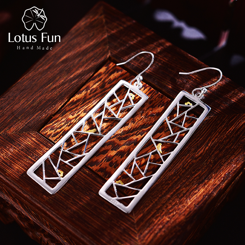 Lotus Fun Real 925 Sterling Silver Handmade Fine Jewelry Oriental Element Window Decoration Paper cut Design